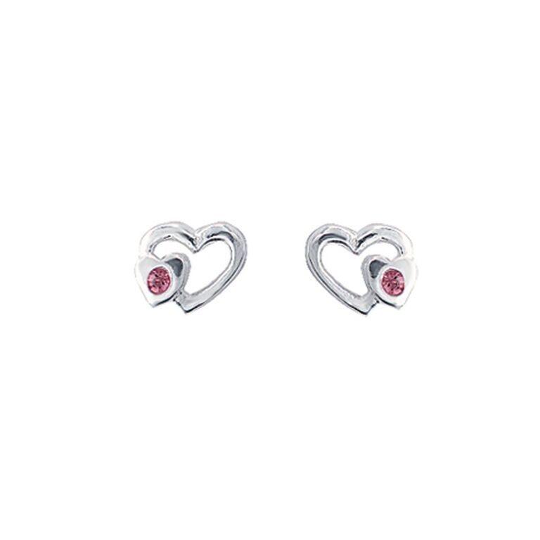 Sølv øreringe med hjerte og pink zirkon fra Aagaard.