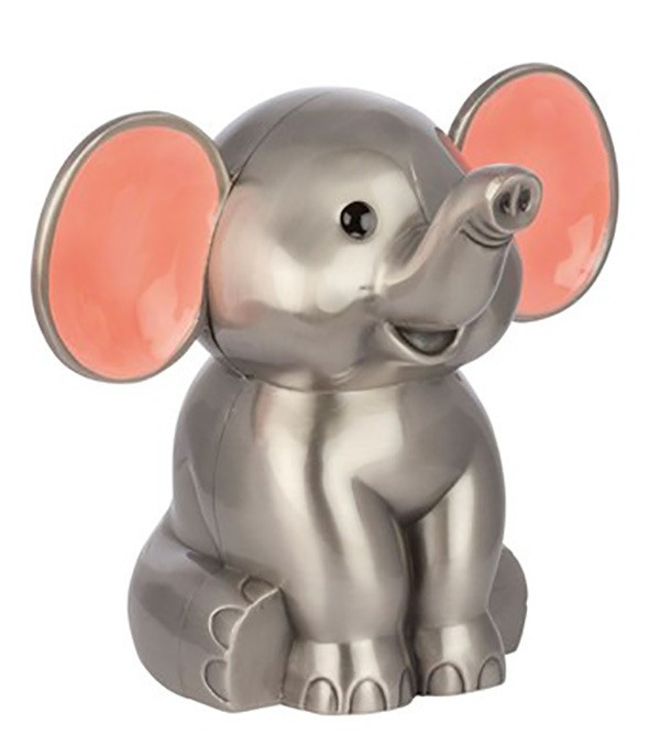 Fortinnet Elefant sparrebøsse med pink øre fra Nordahl Andersen