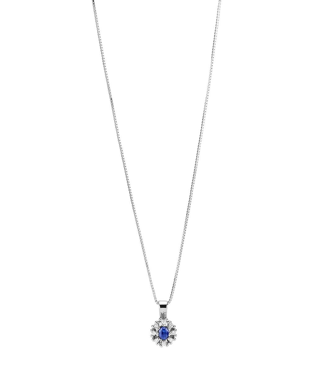 b3d47d2981e Klassisk halskæde med 14kt. hvidguld vedhæng med safir og 8x0,01ct. w/si