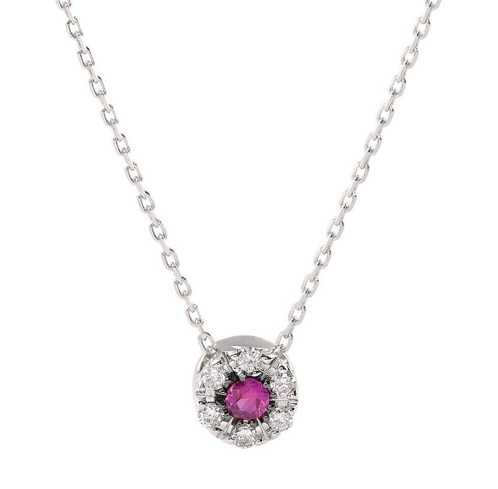 Halskæde i hvidguld med en rubin og diamanter fra Lund Copenhagen