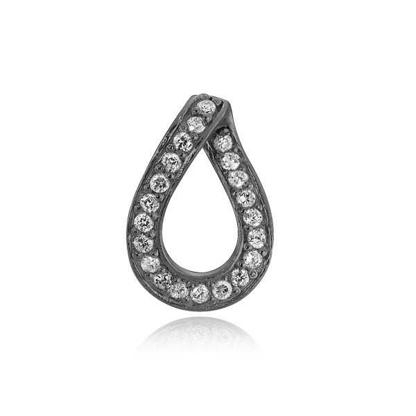 Smuk Izabel Camille Diva sølv sort rhodineret vedhæng med en klar zirkon.
