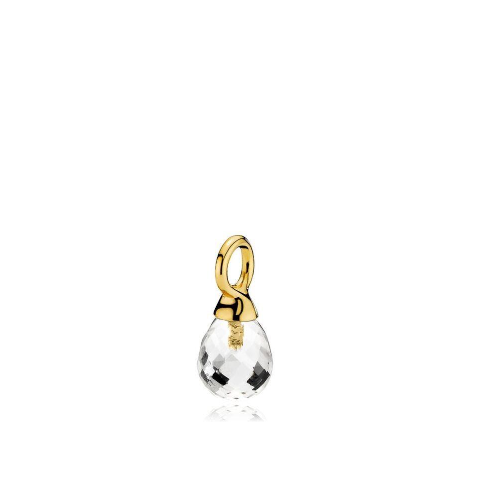 Wonder drop vedhæng i guld med en klar krystal fra Izabel Camille.