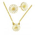 Marguerit smykkesæt med halskæde og øreringe i guld fra Lund Copenhagen