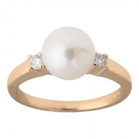 14kt rødgulds ring med perle og 0.10ct TW/SI Nordahl Andersen