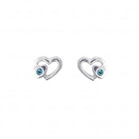 Sølv øreringe med hjerte og sten fra Aagaard.