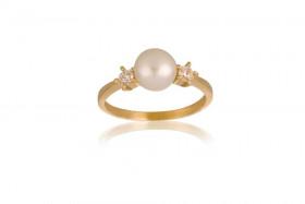 8kt guld ring med perle og zirkoner fra Nordahl Andersen