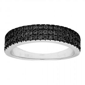 Ring i sort sølv med tre rækker af zirkoner fra Joanli Nor