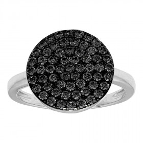 Ring i sort sølv med mange zirkoner fra Joanli Nor