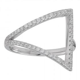 Ring i sølv med en trekant fyldt med zirkoner fra Joanli Nor