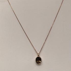 Rosa guld halskæde med røg quarts fra Aagaard