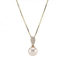 14kt. guld perle vedhæng og kæde med 0,23ct TW/si fra Nordahl Andersen
