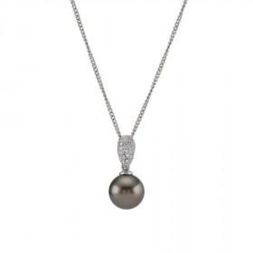 14kt. hvidguld perle vedhæng og kæde med 0,23ct TW/si fra Nordahl Andersen