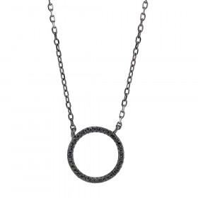 Anna Nor halskæde sort sølv med cirkel af zirkoner fra joanli Nor