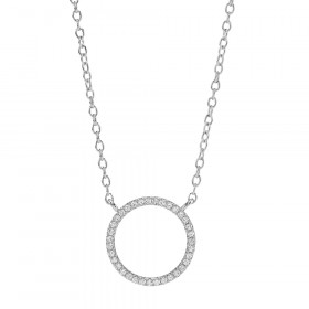 Anna Nor sølv halskæde med cirkel af zirkoner fra joanli Nor