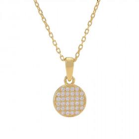 Halskæde i guld med et rundt vedhæng fra Joanli Nor