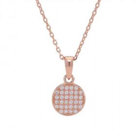 Halskæde i rosa guld med et rundt vedhæng fra Joanli Nor