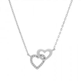 Halskæde i sølv med to hjerter fra Joanli Nor