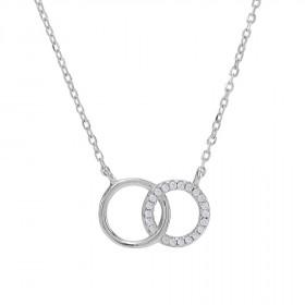 Halskæde i sølv med to cirkler fra Joanli Nor