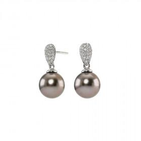 14kt. hvidguld øreringe med 0,21ct TW/si og en thaita perle fra Nordahl Andersen