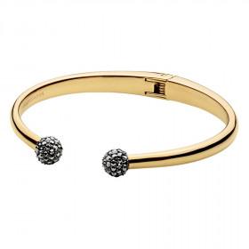 Velvet armring i guld med sorte krystaller fra Dyrberg/Kern