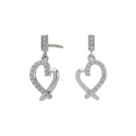 Sølv hjerte øreringe med zirkoner fra Nordahl Andersen