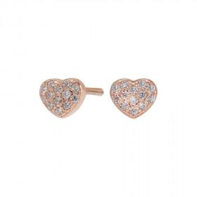 Øreringe i rosa guld formet som et hjerte fra Joanli Nor