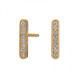 Medium øreringe i guld med zirkoner 10mm fra Joanli Nor