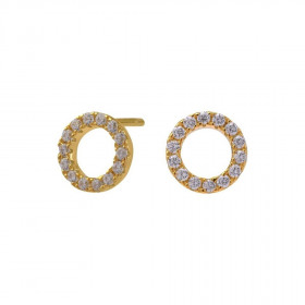 Small ørestikker i guld med zirkoner fra Joanli Nor