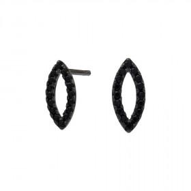 Øreringe i sort sølv med zirkoner fra Joanli Nor