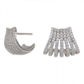 Øreringe i sølv med 7 halv cirkler af zirkoner fra Joanli Nor