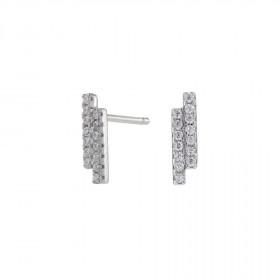 Øreringe i sølv med 2 stave zirkoner fra Joanli Nor