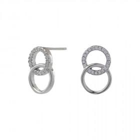 Øreringe i sølv med 2 cirkler fra Joanli Nor