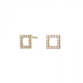 8kt guld firkantet ørestikker med zirkoner fra Nordahl Andersen
