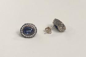 Oxideret sølv øreringe med roset med zirkoner fra Aagaard.