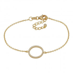 Armbånd i guld med en stor cirkel af zirkoner fra Joanli Nor