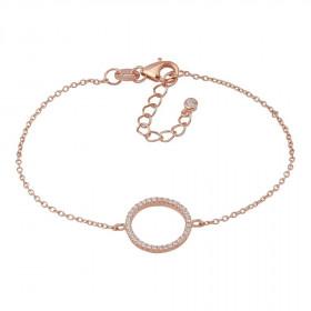Armbånd i rosa guld med en stor cirkel af zirkoner fra Joanli Nor