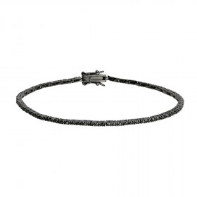 Armbånd i sort sølv med zirkoner i fra Joanli Nor