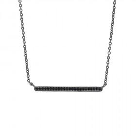 Halskæde i sort sølv med zirkoner fra Joanli Nor