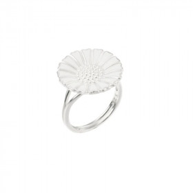 Marguerit ring i sølv (18mm), hvid emalje fra Lund Copenhagen