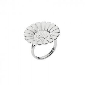 Marguerit ring i sølv (25mm), hvid emalje fra Lund Copenhagen