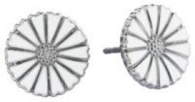 Marguerit øreringe i sølv rhodineret fra Lund Copenhagen