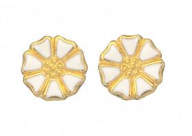 Marguerit øreringe i sølv forgyldt fra Lund Copenhagen