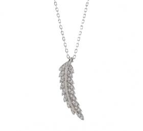 Halskæde i sølv med en fjer og zirkoner 23mm fra Joanli Nor