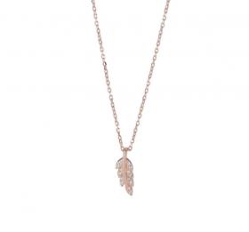 Halskæde i rosa guld med en fjer og zirkoner 17mm fra Joanli Nor