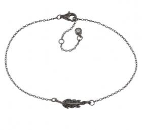 Armbånd i sort sølv med en fjer og zirkoner 17mm fra Nordahl Andersen.