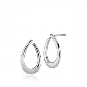 Diversity sølv øreringe med en enkel zirkon fra Izabel Camille