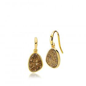 Mystery øreringe i guld med druzy sten fra Izabel Camille.