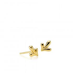 Embrace øreringe i guld med et bladmotiv fra Izabel Camille.