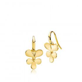 Robinia øreringe i guld med et blad vedhæng fra Izabel Camille.