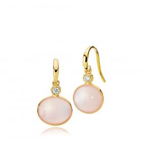 Candy øreringe i guld med pink calcedon og zirkon fra Izabel Camille.